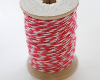 Baker's Twine - 20 Yards - Sorbet - Hot Pink - 4 Ply Twine on Wooden Spool
