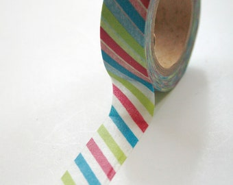Washi Tape - 15mm - Multi Color Diagonal Stripe - Deco Paper Tape No. 436