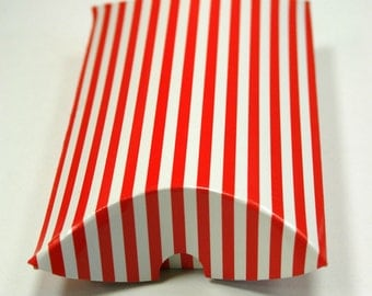 Heavyweight Chipboard Small Red Striped Pillow Boxes - set of 12 - Perfect for Christmas Gifts - 3 1/2 x 3 x 1 Inches