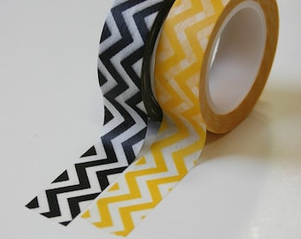 Washi Tape Set - 15mm - Yellow and Black Chevron - Deco Paper Tape Two Rolls No. 549 No. 468