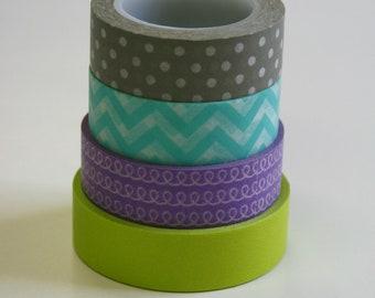 Washi Tape Set - 15mm - Combination EF - Grey Aqua Lime Lavender - Four Rolls Washi Tape - No. 2, 83, 167, 561