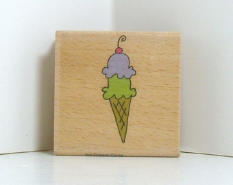 Double Dip Ice Cream Cone with Cherry Rubber Stamp