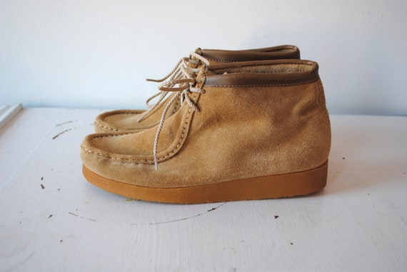Vintage 1970s Tan Suede Chukka Boots Womens 8.5 Mens 7 Never