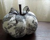 Black and White Toile Pumpkin Decorative Autumn Fall Decor