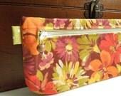 Retro Green Brown and Orange Floral Pencil Case Zipper Pouch