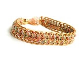 Silk Woven Bracelet / Gold Chain Bracelet / Tiny chain hand woven in multi colored silk / Chevron tribal chic pastel fashion / Gift for her