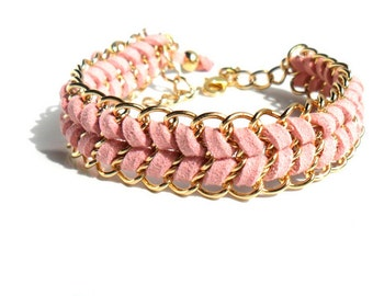 Gold Chain Bracelet Pink Chevron Leather Bracelet Pastel Fashion Bracelet Stacks Delicate Chain Cuff Boho Chic Gift Ideas for Her Under 25