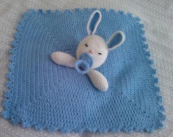 Lovely Baby Rabbit Security Blanket  - PDF  Crochet Tutorial Pattern 77 -  INSTANT DOWNLOAD