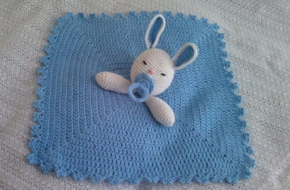 Lovely Baby Rabbit Security Blanket  - PDF  Crochet Tutorial Pattern 77 -  INSTANT DOWNLOAD