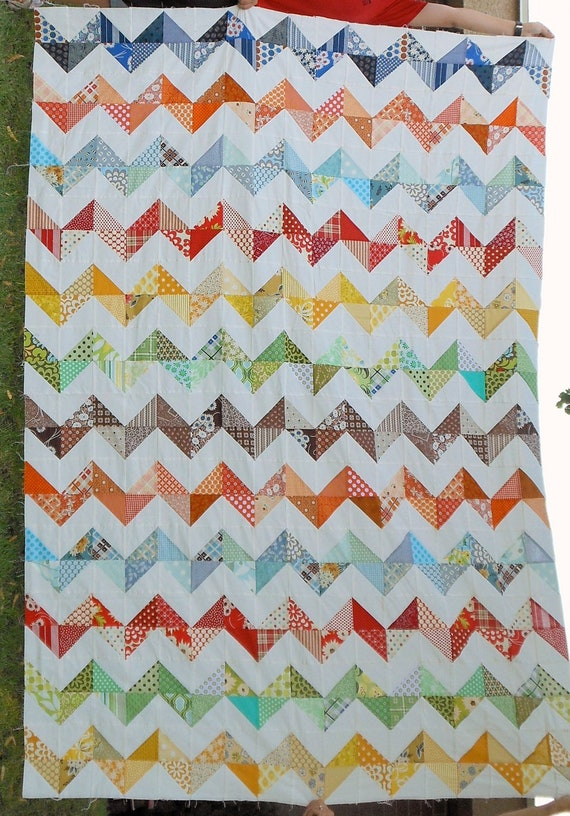 Zig Zag Crayola Quilt Top Twin Size