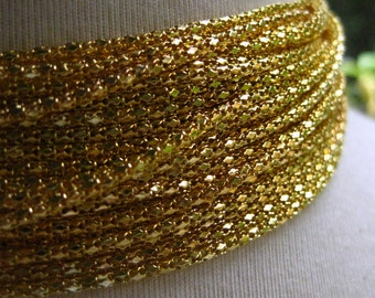 Gold Plated 2mm Round Hollow Mesh Chain  10 Feet (3 meters)