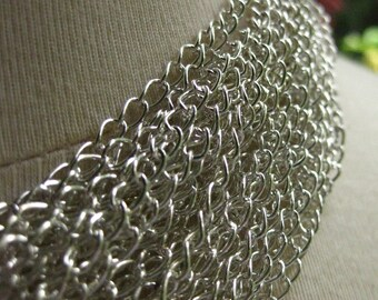 Silver Plated Curb Chain 5mm by 3mm 5 Feet (152 cm) open links SC35E