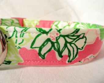 Lilly Pulitzer Fabric Girl Dog Collar Modern Pink Green Flowers