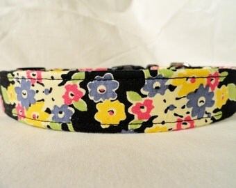 Pretty Pink Purple Black Flowers Dog Collar