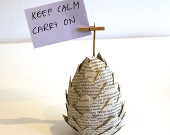 Upcycled Paper Decoration Novel - Pinecone, Egg - place setting, photo holder
