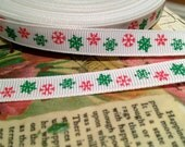 "3 yards 3/8"" Red and Green CHRISTMAS SNOWFLAKE on White grosgrain"