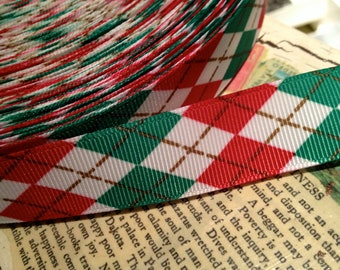 "3 yards 7/8""  PREPPY CHRISTMAS ARGYLE Red Green White and Gold Grosgrain Ribbon"