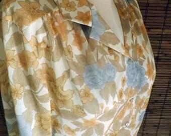 Vintage Deadstock  Near Sheer Floral Boho Disco Blouse L