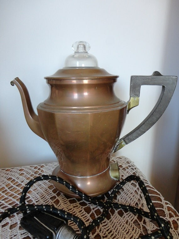 Vintage Electric Coffee Maker : Items similar to Vintage Copper Electric Coffee Maker by Universal Percolator Landers, Frary ...