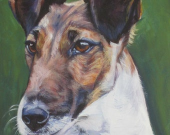 smooth fox Terrier portrait dog art CANVAS print of LA Shepard painting 8x8