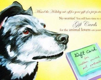 Custom Painted Pet Portrait or Handmade Gift YOU SET PRICE Gift Card