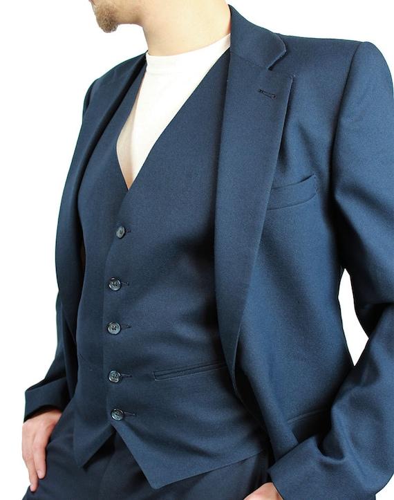 3 Piece Suit - Vintage Mens Falcone Blazer Vest Pants 38L 36x33 Disco Costume Dark Navy Blue FREE US Shipping