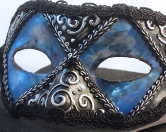 Stormy Mask, Black and turquoise eyemask with 3D swirls, silver gilding ,and black trim