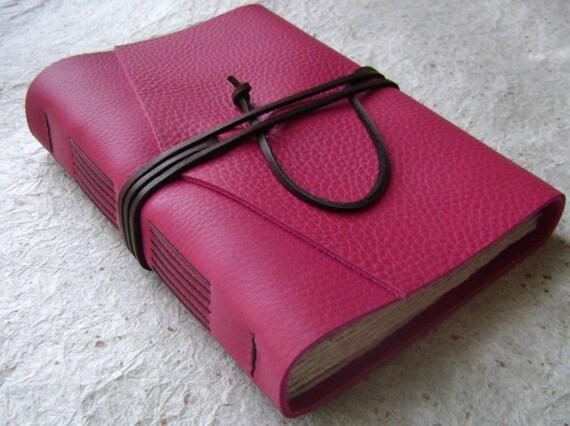 Leather Journal, Deep Pink, handmade rustic journal by Dancing Grey Studio on Etsy