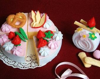 DIY felt fruit double layer cake  felt pattern, instructions-- F34