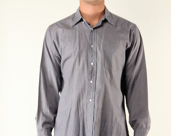 Vintage Mens Tailored Dress Shirt Grey Lightweight Cotton Large
