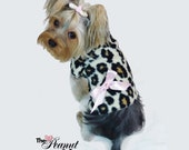 Big Leopard with Pink Bow Dog TShirt Clothes by Doogie Couture Size XXXS-Medium