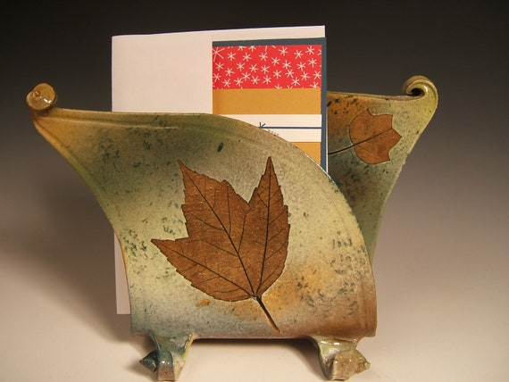 napkin holder letter holder,green leaf, stoneware with leaf impressions