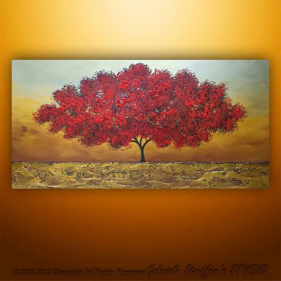 Abstract Modern Landscape Tree Asian Art by Gabriela 48x24  Metallic Large