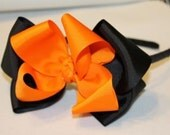 Reserved item for Jasmine - Two toned orange and black ribbon wrapped headband