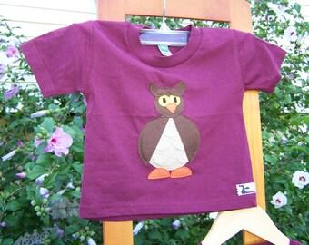 Little Owl Tshirt Pieced Applique Toddler Infant Baby 6 month, 6m, 12 month, 12m, 18 month, 18m, 2T, 3T, 4T