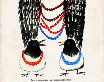 "Vintage Soviet Illustration ""Chattering Chickadees"" Mod Russian Birds Print - Surreal Weird Animal Art"