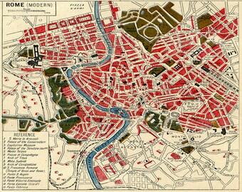 "Vintage European Italy Map Print ""Modern Rome"" Europe Travel Print Italian Vintage Print"