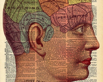 Vintage Dictionary Print - Phrenology Chart - Mystical Occult Surreal Art - Upcycled Recycled Book Print - Anatomical Steampunk Circus Decor