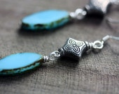 Dangle Earrings, Turquoise Czech Glass, Antiqued Silver, Vintage - Berberia