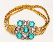 Emerald Green and Clear Paste Bracelet