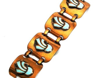 Copper Bracelet with Aqua Enamel