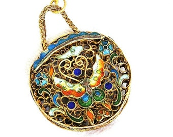 Chinese Silver Enamel Pendant Necklace