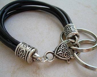 Women's Black Leather Bracelet, Valet Key Chain, Key Chain, Women's Bracelet, Leather Bracelet, Women's Gift, Gift For Her, Bracelet,Jewelry