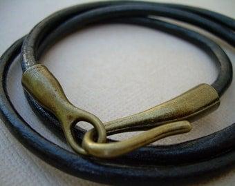 Mens Bracelet, Mens Bracelet Leather, Wrap Bracelet, Hook Clasp Bracelet, Mens Jewelry, Leather Jewelry, Mens Gift, Boyfriends Gift, For Him