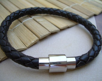 Mens Braided Leather Bracelet, Stainless Steel Magnetic Clasp, Mens Jewelry, Mens Bracelet, Mens Gift