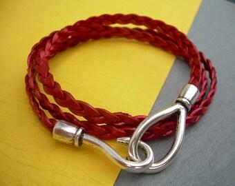 Womens Leather Bracelet, Triple Wrap, Metallic Red, Flat Braided, Hook Closure Clasp TSB20 Urban Survival Gear USA