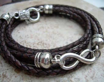 Leather Bracelet, Infinity Bracelet,  Triple Wrap, Antique Brown Braided, Mens Bracelet, Womens Bracelet, Mens Jewelry, Womens Jewelry
