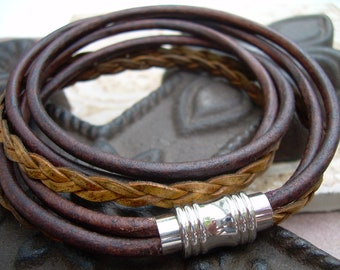 Masculine Leather Bracelet with Stainless Steel Magnetic Clasp, Wrap Bracelet, Mens Jewelry, Mens Leather Bracelet, Gift for Him, Leather