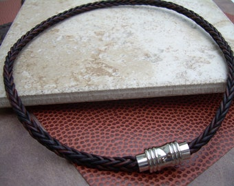 Mens Leather Necklace, Natural Antique Brown Braided, Stainless Steel, Magnetic Clasp,