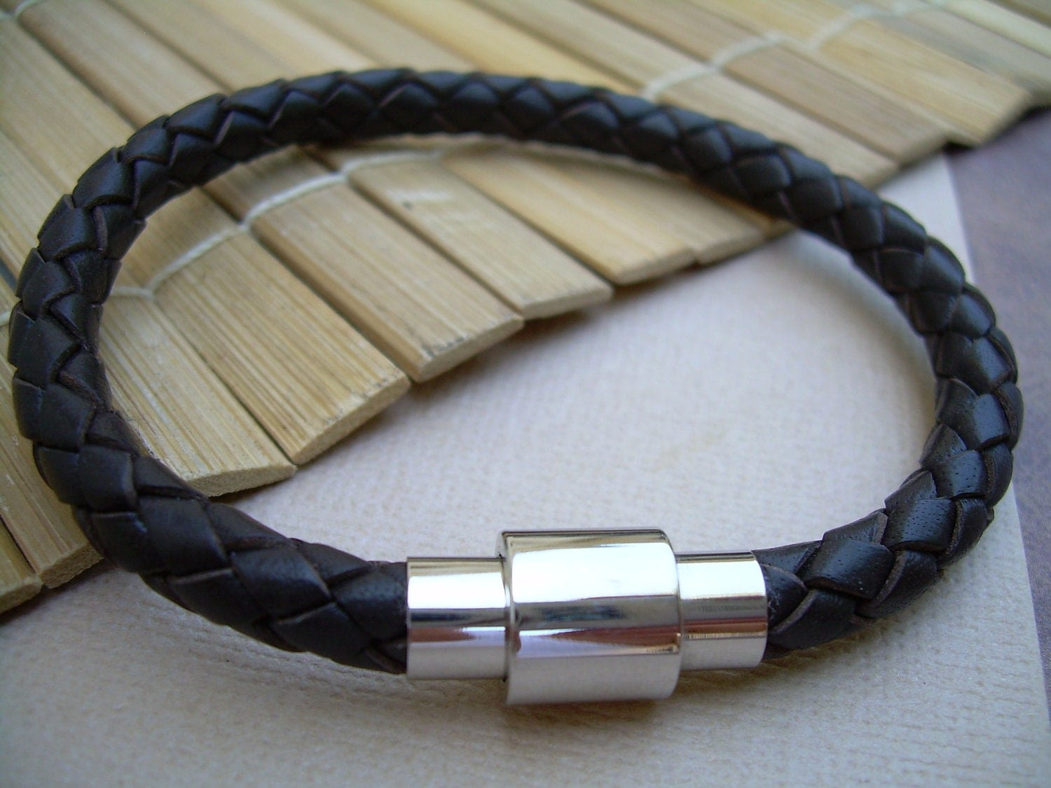 Mens Brown Braided Leather Bracelet With Stainless Steel